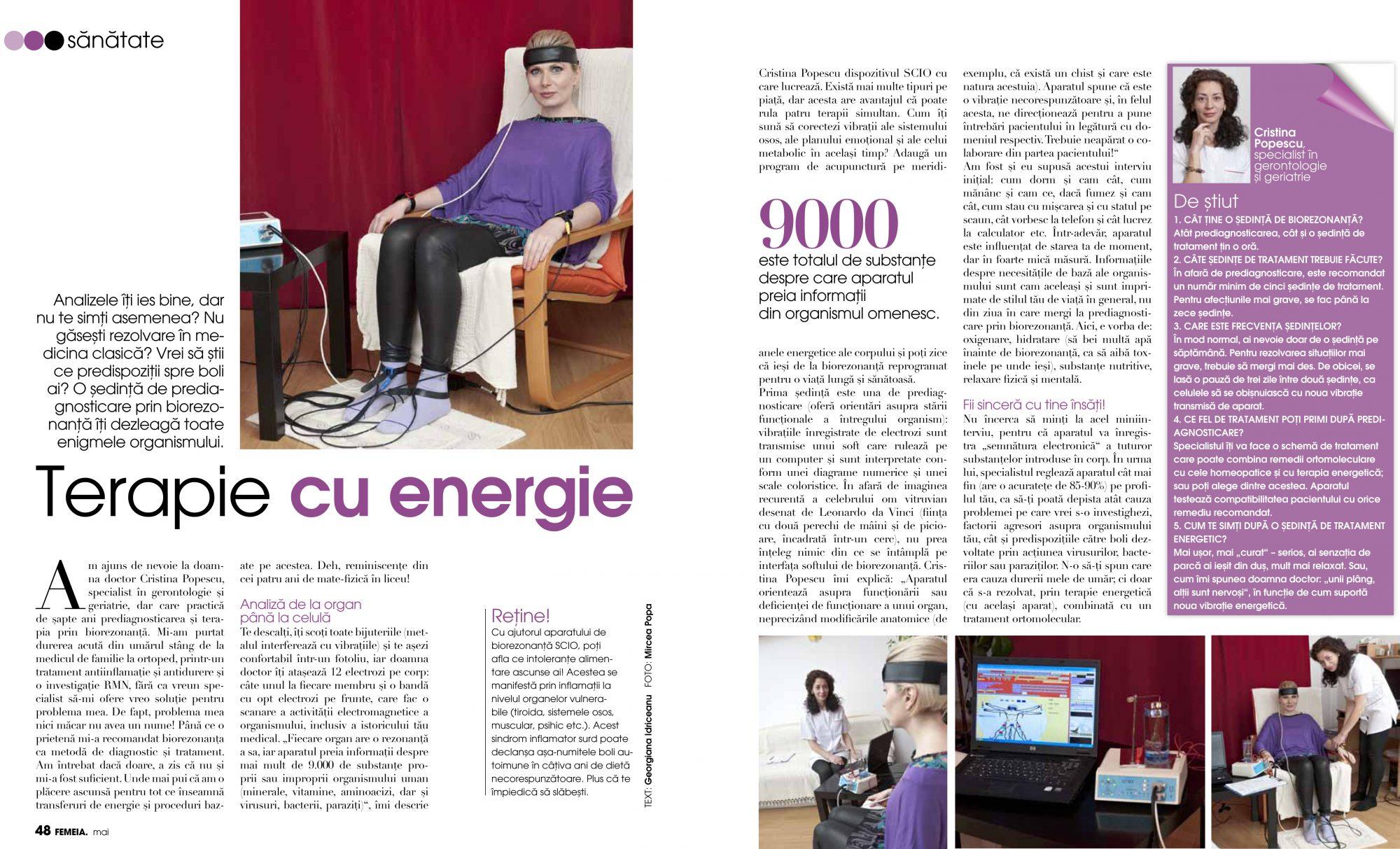 biorezonanta georgiana idriceanu revista Femeia.