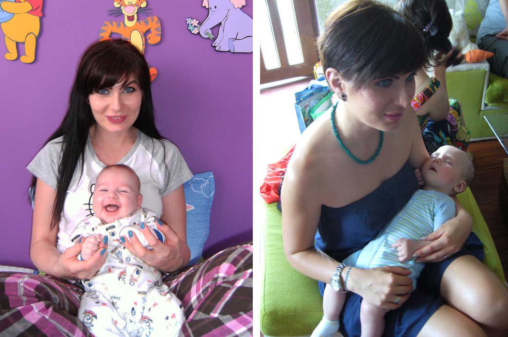 femeie cu copii mici in brate