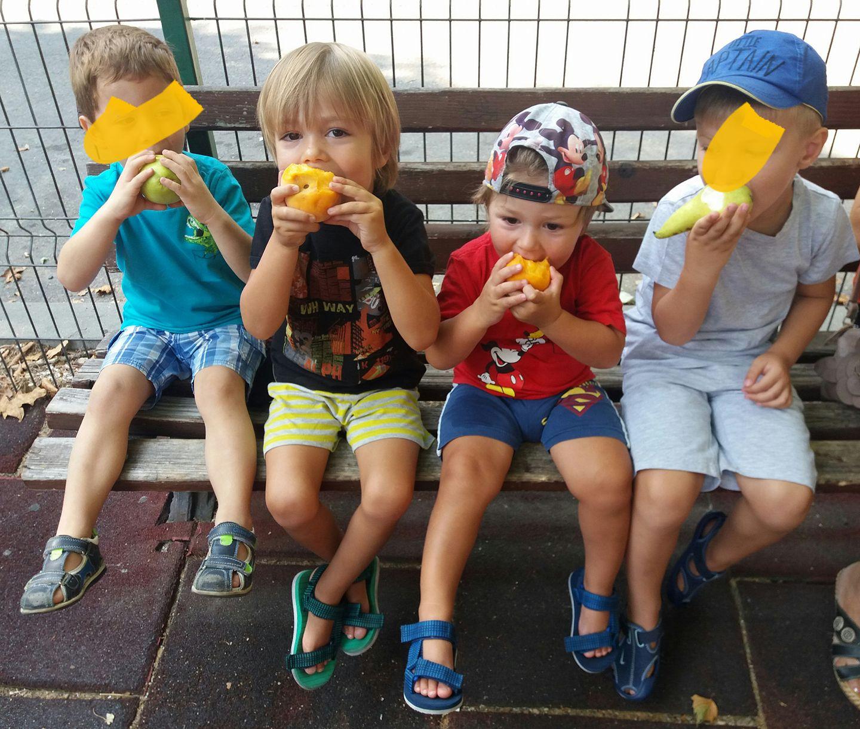 copii mananca fructe parc gustare