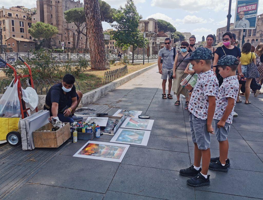 cu copiii la roma artist stradal